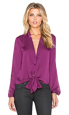Long Sleeve Shirttail Blouse in Dark Magenta