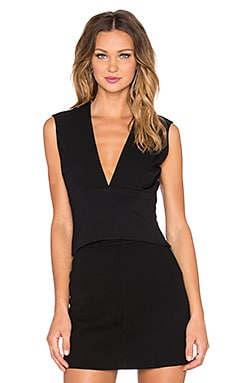 Halston Heritage Plunge V Neck Top in Black