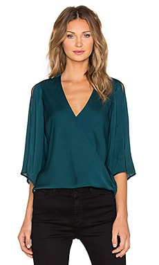 Halston Heritage Slit Sleeve Wrap Blouse in Spruce