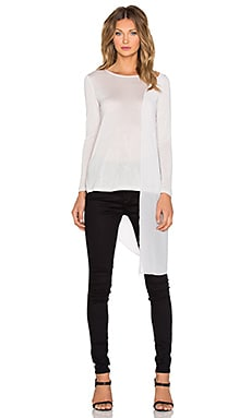 Halston Heritage Long Sleeve Overlay Top in Light Buff