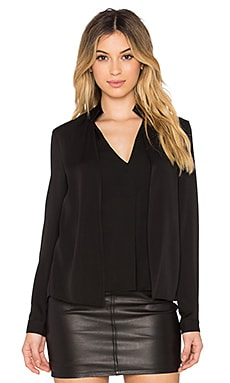 Halston Heritage V Neck Double Collar Blouse in Black