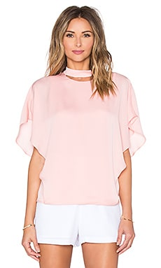 Halston Heritage Smock Neck Cut Out Top in Lotus