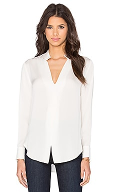 Halston Heritage Cuff Detail Blouse in Eggshell