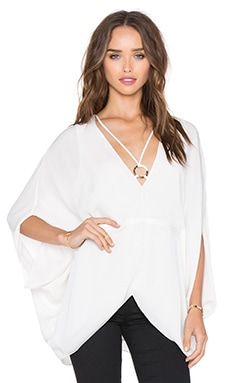 V Neck Ring Blouse in Eggshell