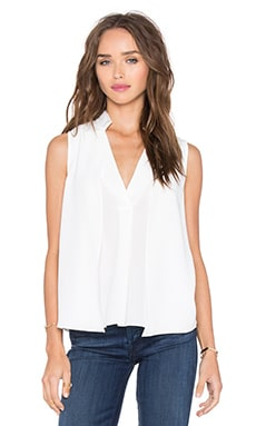 Halston Heritage Drape Double Collar Top in Eggshell