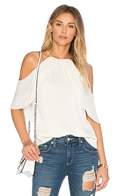 Drape High Neck Top in Eggshell