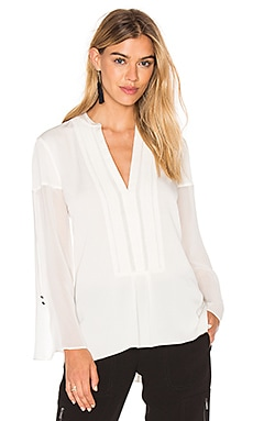 Deep V Sheer Sleeve Top in Chalk
