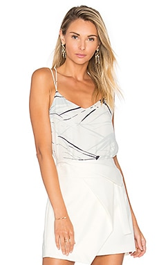 Halston Heritage Double Strap Printed Cami in Chalk Graphic Burst Print