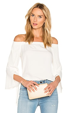 Off Shoulder Slit Sleeve Top in Chalk