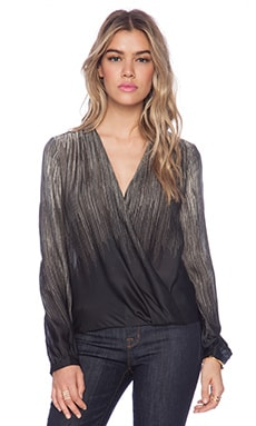 Halston Heritage Printed Wrap Front Blouse in Silver Grey Fringe Print