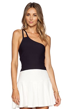 Halston Heritage Asymmetric Strap Crop Top in Black