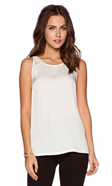Halston Heritage Double Strap Tank in Linen White