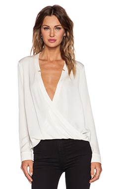Halston Heritage Wrap Drape Top in Bone