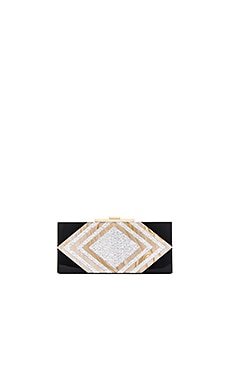 Halston Heritage Rectangular Minaudiere Clutch in Gold Multi