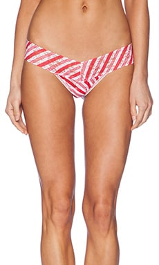 Hanky Panky Peppermint Stripe Low Rise Thong in Red & White
