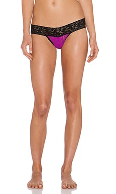 Hanky Panky Low Rise Thong in Hot Fuchsia & Black