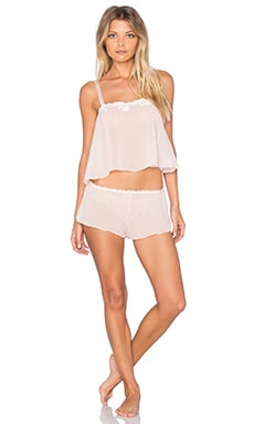Chiffon Cropped Cami & Tap Pant in Vanilla