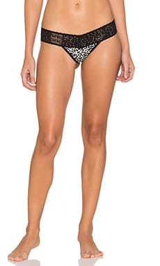 Hanky Panky Bitty Kitty Low Rise Thong in Black & White
