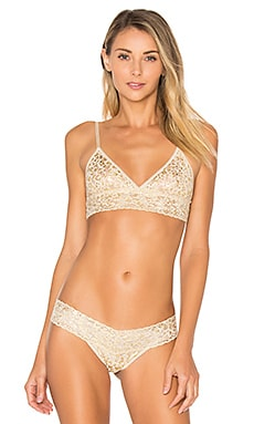 Golden Leopard Triangle Bralette en Sable