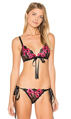 Embroidery Front Tie Bralette en Black & Hot Fuchsia