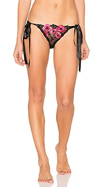 Embroidery Side Tie Bikini in Black & Hot Fuchsia