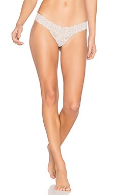 Cross-Dyed Signature Lace Low Rise Thong in Cygnet & Vanilla