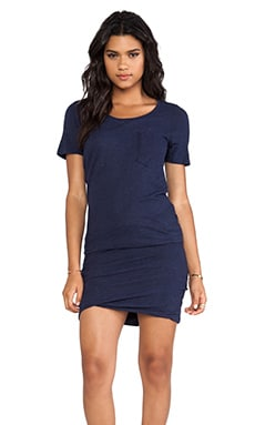 MONROW Granite Pocket T Dress in Navy
