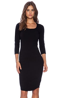 MONROW Heavy Stretch Cotton 3/4 Sleeve Dress in Black