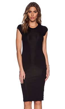 MONROW Lycra Rib Cap Sleeve Dress in Black