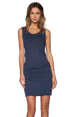 MONROW Linen Jersey Sleeveless Dress in Vintage Blue