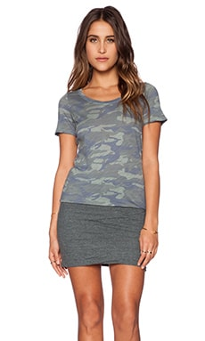 MONROW Camo Tee Shirt Dress in Succulent