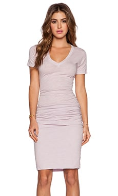 MONROW Heritage V Neck Dress in Lavender