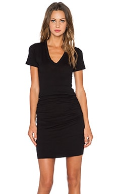 MONROW Permanent Collection V Neck Dress in Black