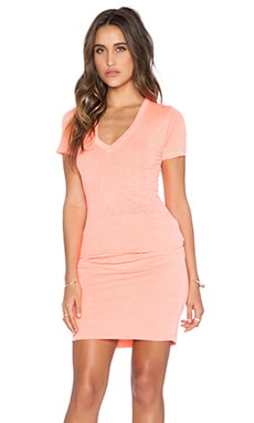 MONROW Permanent Collection V Neck Dress in Neon Orange