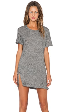 MONROW Vintage Burn Out Oversized Tee Shirt Dress in Granite
