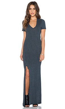 MONROW Vintage Burn Out V Neck Maxi Dress in Vintage Black