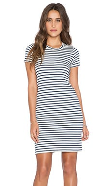 MONROW Blue Stripe Dress in Natural
