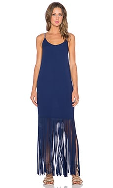 MONROW Fringe Maxi Dress in Navy