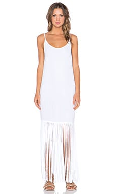MONROW Fringe Maxi Dress in White