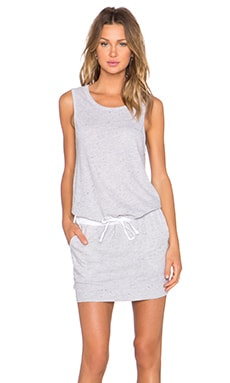 MONROW Linen Basics Drawstring Mini Dress in Heather Grey