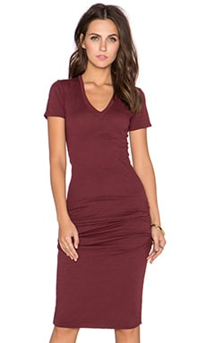 MONROW V Neck Midi Dress in Maroon