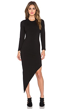 MONROW Asymmetrical Slash Dress in Black