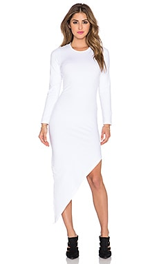 MONROW Asymmetrical Slash Dress in White