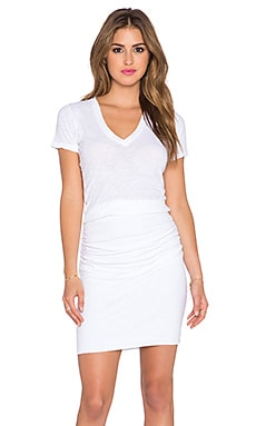MONROW V Neck Midi Dress in White