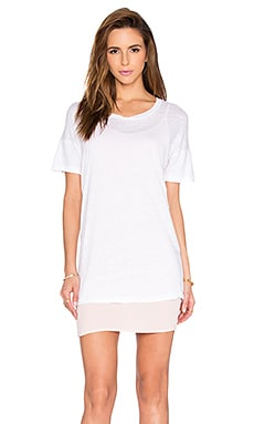 MONROW Double Layer Tee Shirt Dress in Cherry Blossom