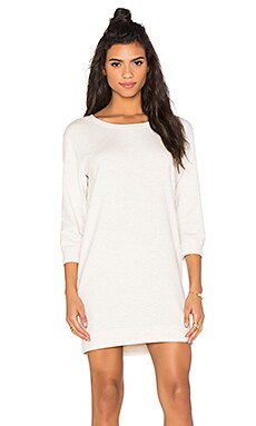 MONROW Oatmeal Jersey Sweatshirt Dress in Natural