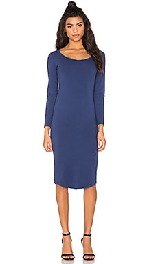 MONROW Core Collection Long Sleeve Dress in Navy