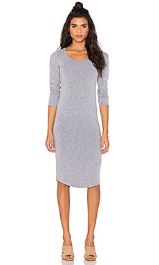 MONROW Core Collection Long Sleeve Dress in Granite