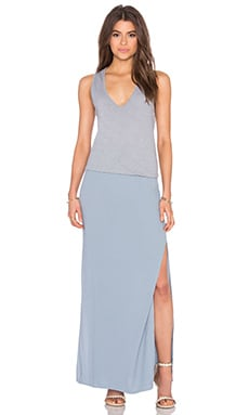 MONROW Deep V Maxi Dress in Dusty Blue