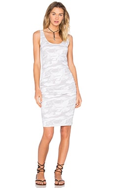 MONROW Neutral Camo Shirred Dress in White